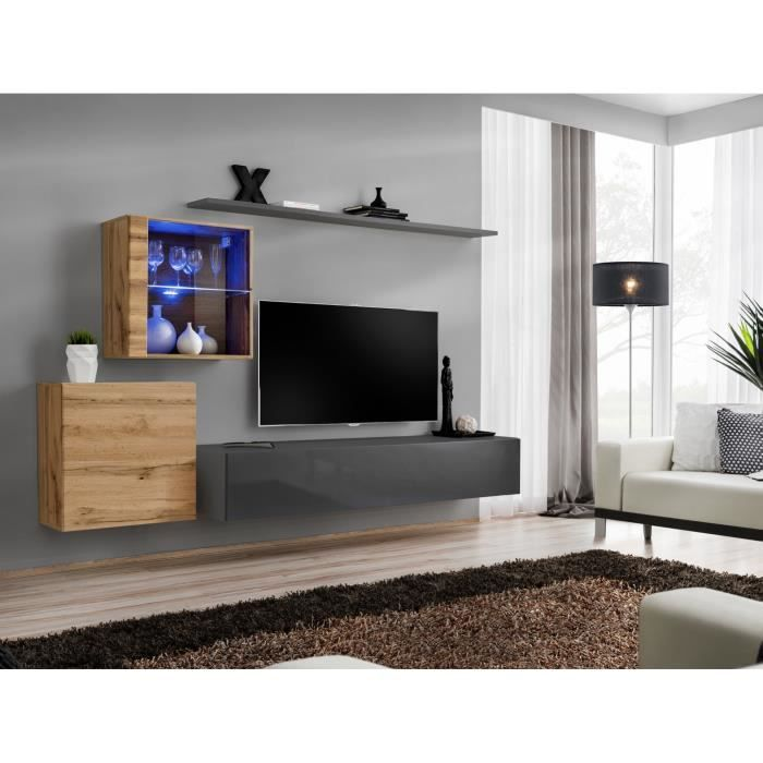 Ensemble meuble salon mural SWITCH XV design, coloris gris brillant et chêne Wotan. 40 Gris