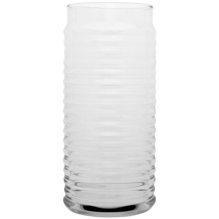 Vase Tendance Forme Cylindre Design Spirale 22cm Transparent
