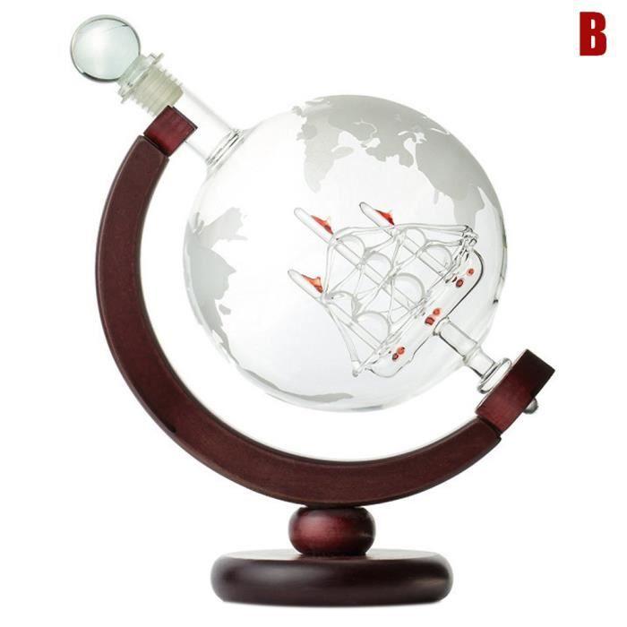 Carafe gravée Globe Design Carafe à vin de whisky 850 ml avec cadre en bois pour Home Bar
