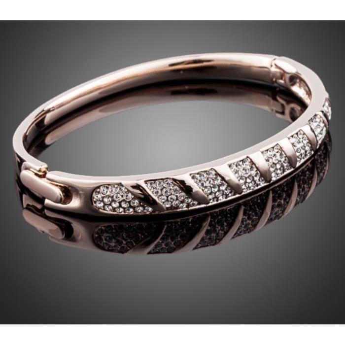 bracelet style jonc plaque or rose serti de cristaux swarovsi elements neuf