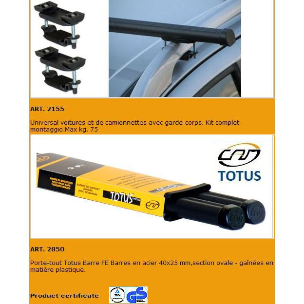 Barres de toit Renault Koleos 5P pour barres longitudinales, après 2008