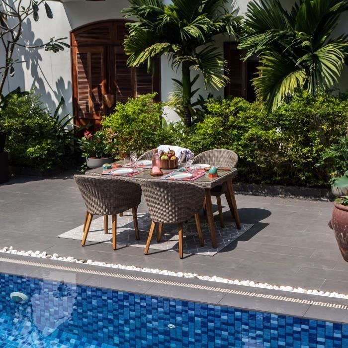 Ensemble repas de jardin 4 personnes - table 160x90 + 4 fauteuils- résine tressée et Acacia - plateau verre trempé
