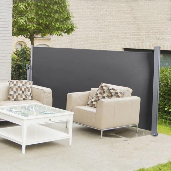 HOP - Auvent rétractable imperméable extérieur, auvent latéral de parasol pour patio cour jardin(Gris foncé )