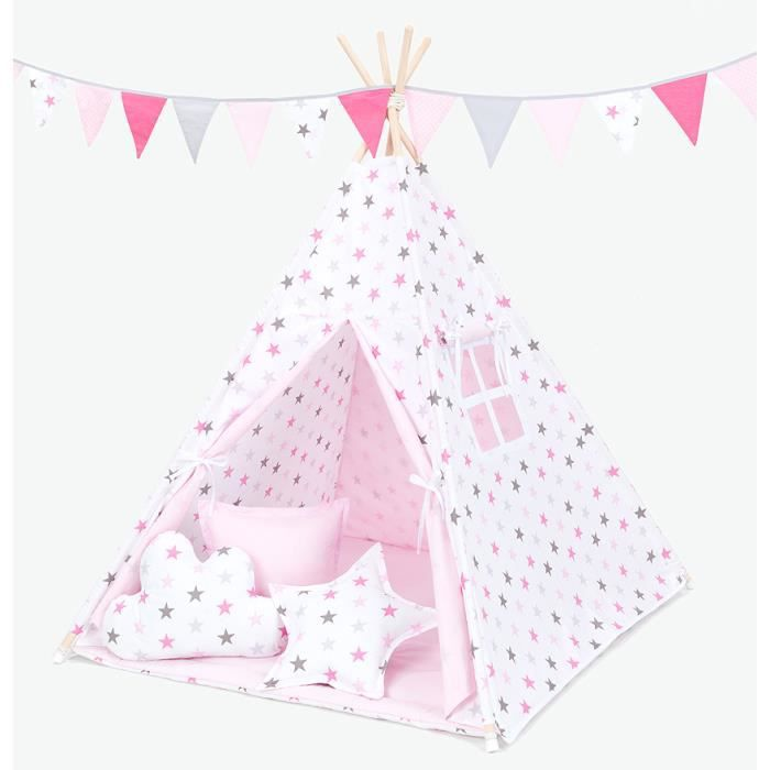tipi enfant rose complet pour chambre de gar on ou fille achat vente tente tunnel d 39 activit. Black Bedroom Furniture Sets. Home Design Ideas