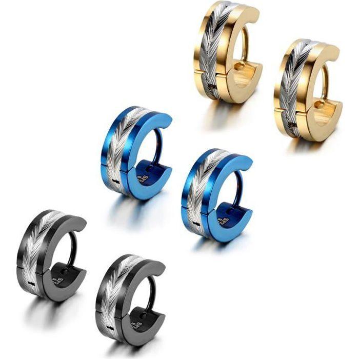 2 paires boucles d/'oreilles clous strass Ø 4,5 mm en acier inoxydable