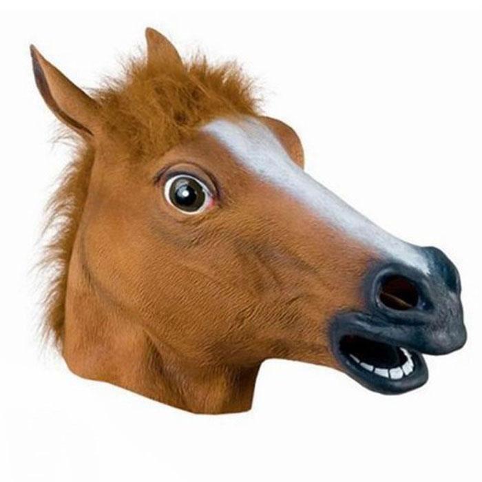Beau Masque de tête de cheval Cosplay Animal en latex ZOO Fête Costume Prop Toy