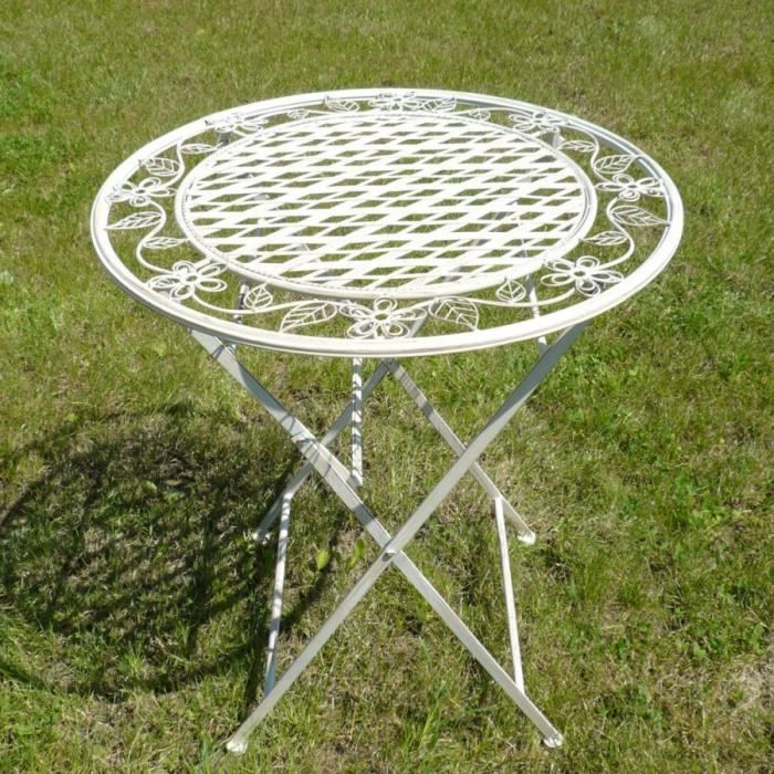 Table de salon de jardin en fer forg achat vente - Salon de jardin en fer colore ...