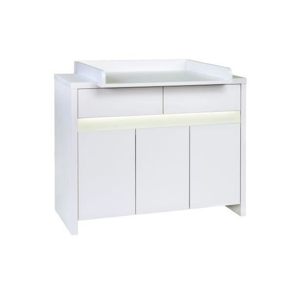 Commode langer b b plan te blanche led blanc achat - Commode table a langer bebe kitty blanc ...