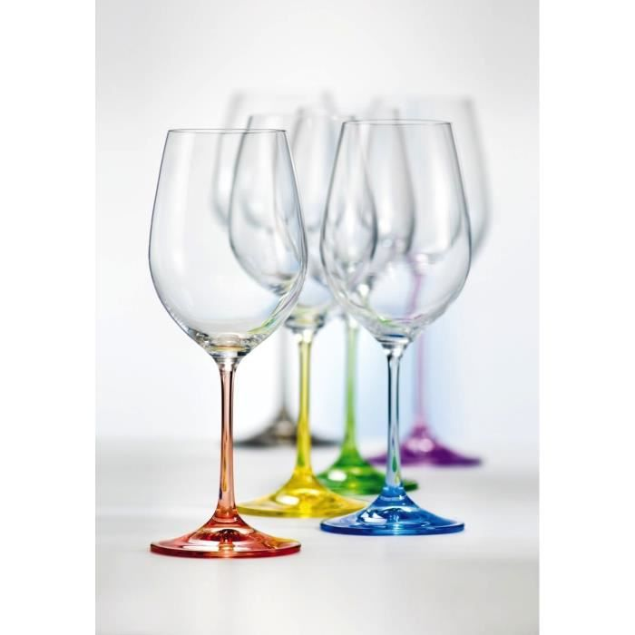 boh me cristal set de 6 verres vin rainbow achat vente vin blanc boh me cristal set de 6. Black Bedroom Furniture Sets. Home Design Ideas