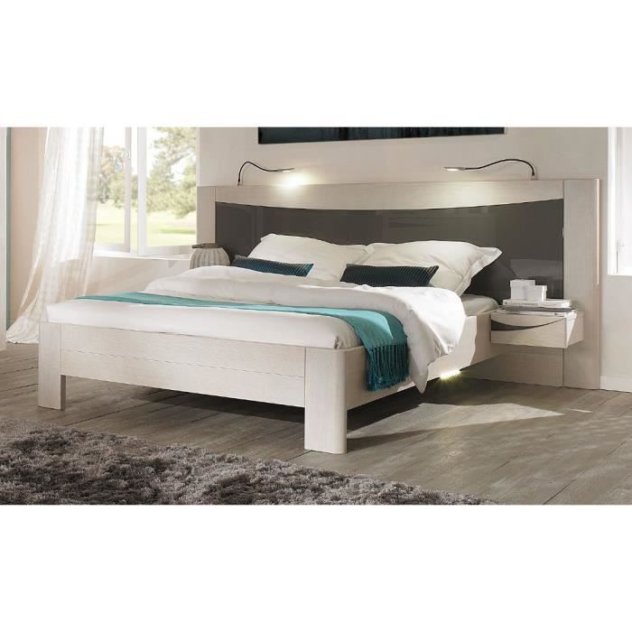 lit adulte chevets bois massif achat vente structure de lit cdiscount. Black Bedroom Furniture Sets. Home Design Ideas