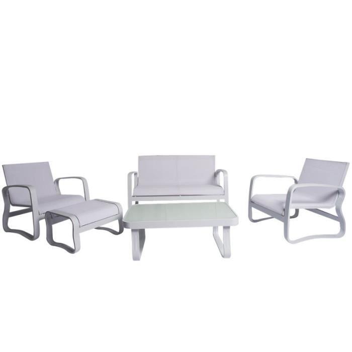 Salon De Jardin Aluminium Textilene Grande Assise Confortable