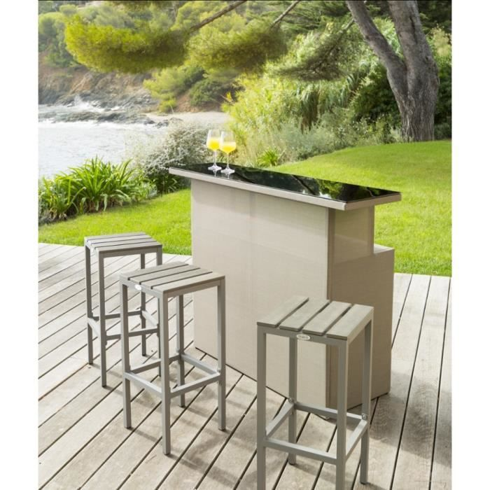 bar 3 tabourets d 39 ext rieur hesp ride calvillo taupe achat vente desserte de jardin bar. Black Bedroom Furniture Sets. Home Design Ideas