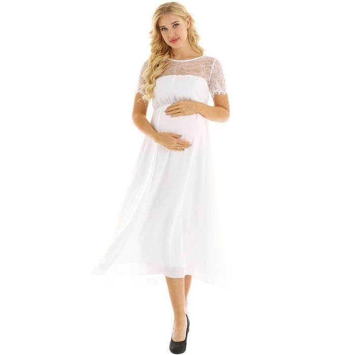 Robe Femme Enceinte Robe Maternite Pour Photographe Robe De Soiree Grossesse Photo Taille 34 44 Blanche Blanc Achat Vente Robe De Ceremonie Cdiscount
