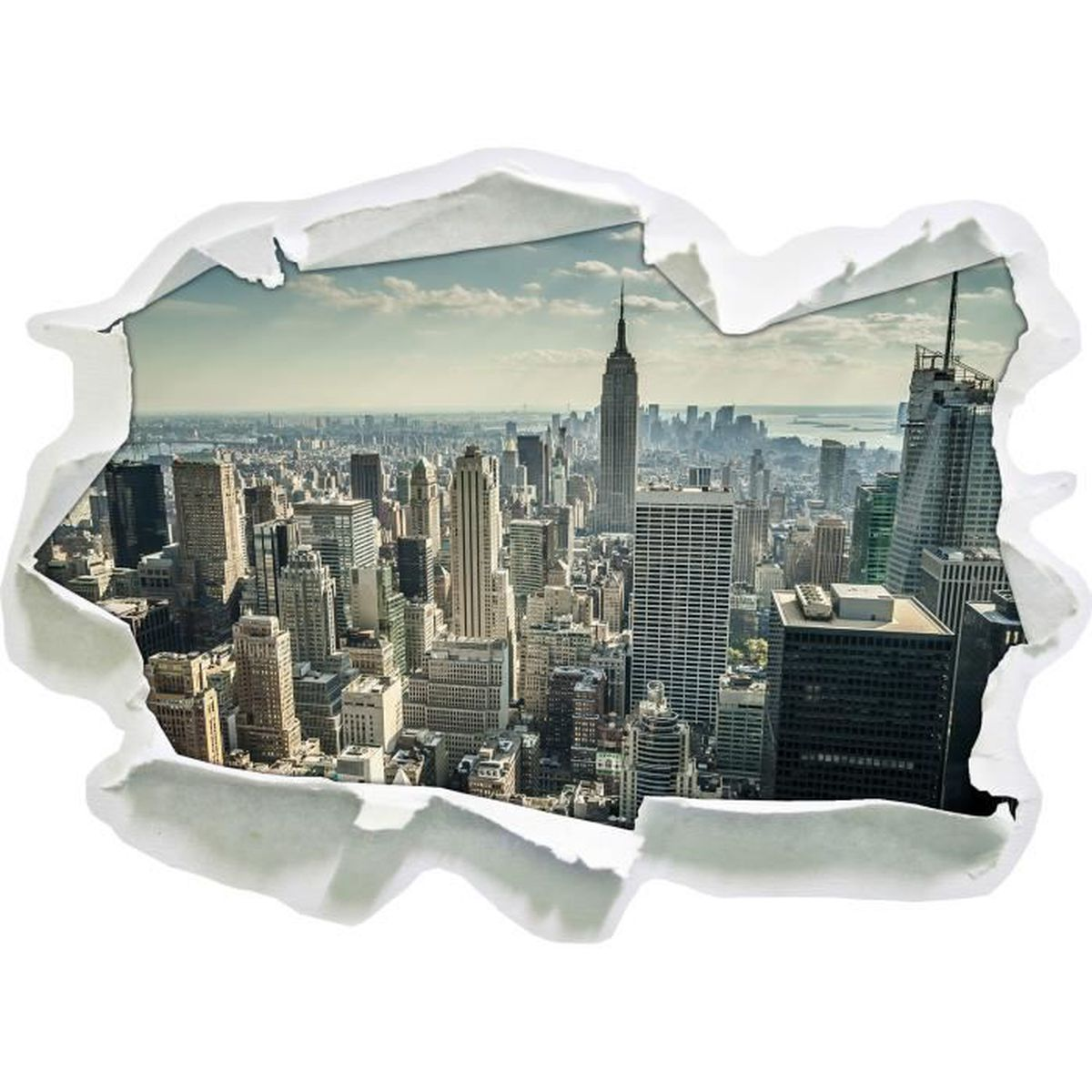 New york par jour papier 3d sticker mural taille 62x45 for Decoration murale geante new york