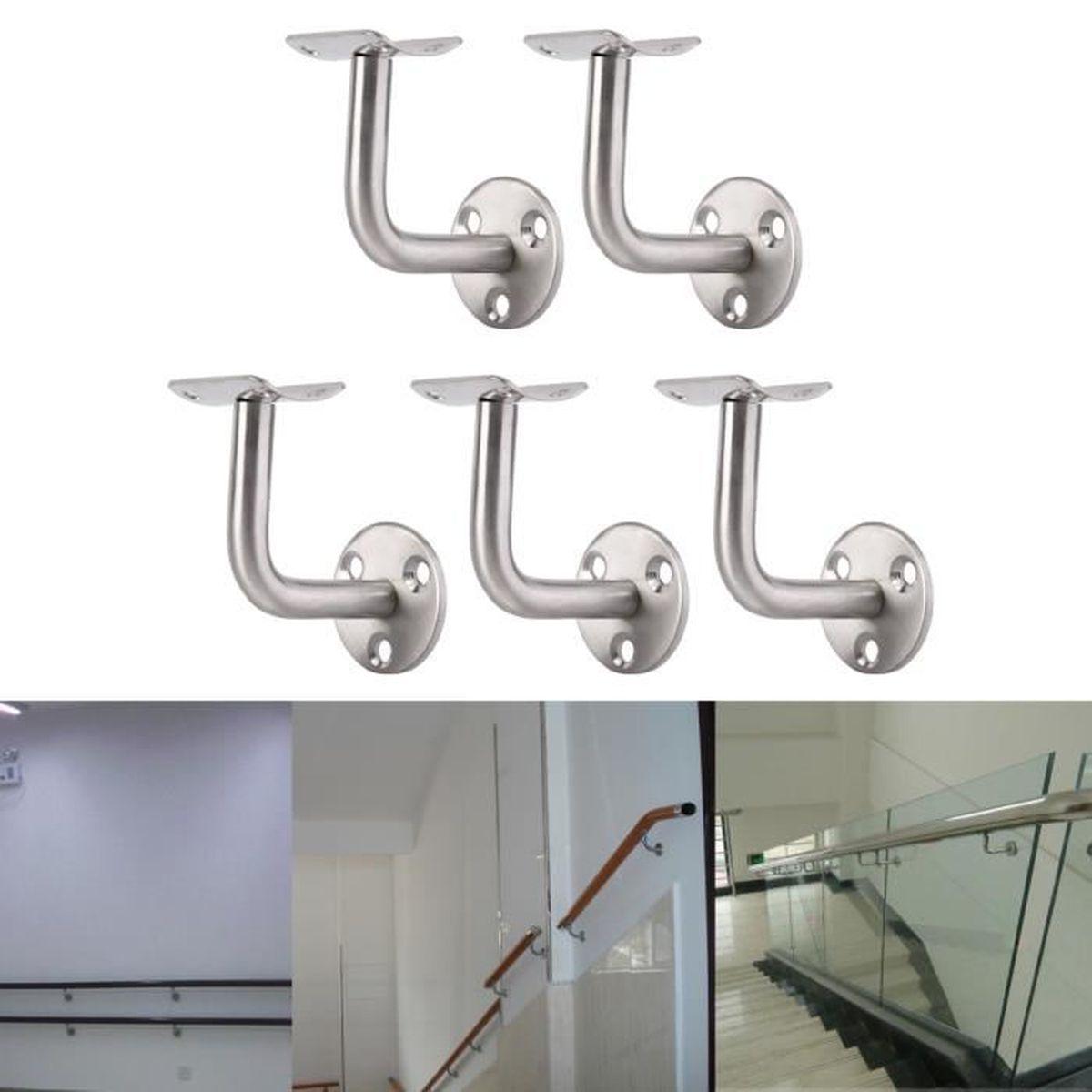 5x Soutien Support Main Courante Escalier Fixation Murale avec Couvercle Inox