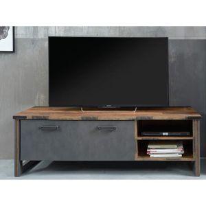 MEUBLE TV PRIME Meuble TV - Décor bois patiné gris - L 178 c