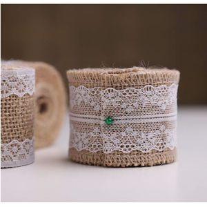 TULLE - NOEUD - RUBAN Ruban jute et dentelle naturel 5cm
