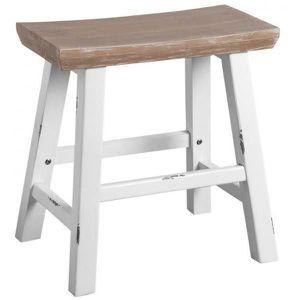 BANC Petit banc en bois naturel et blanc antique -  Nat