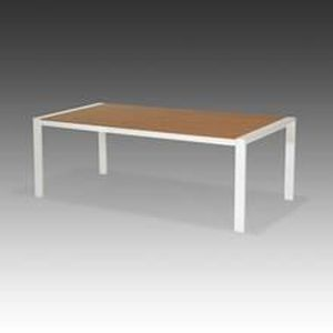 Table Macia en Alu Blanc imitation teck - Achat / Vente table de ...