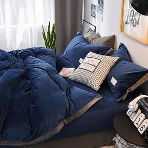 HOUSSE DE COUETTE SEULE Parure de lit velours couleur unie chaud Bleu:hous