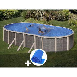 PISCINE Kit piscine acier et résine Gré Fusion ovale 5,20