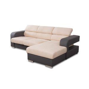 CANAPÉ - SOFA - DIVAN METEO Canapé d'angle droit  5 places - Simili gris