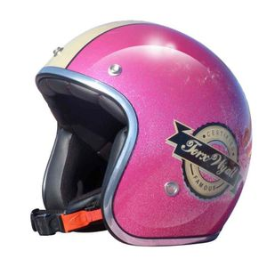 CASQUE MOTO SCOOTER CASQUE JET VINTAGE WYATT FAMOUS SHINY GLITTER PINK