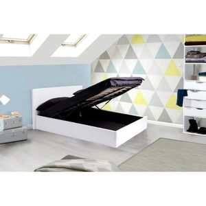 lit coffre 140x190 blanc achat vente lit coffre. Black Bedroom Furniture Sets. Home Design Ideas