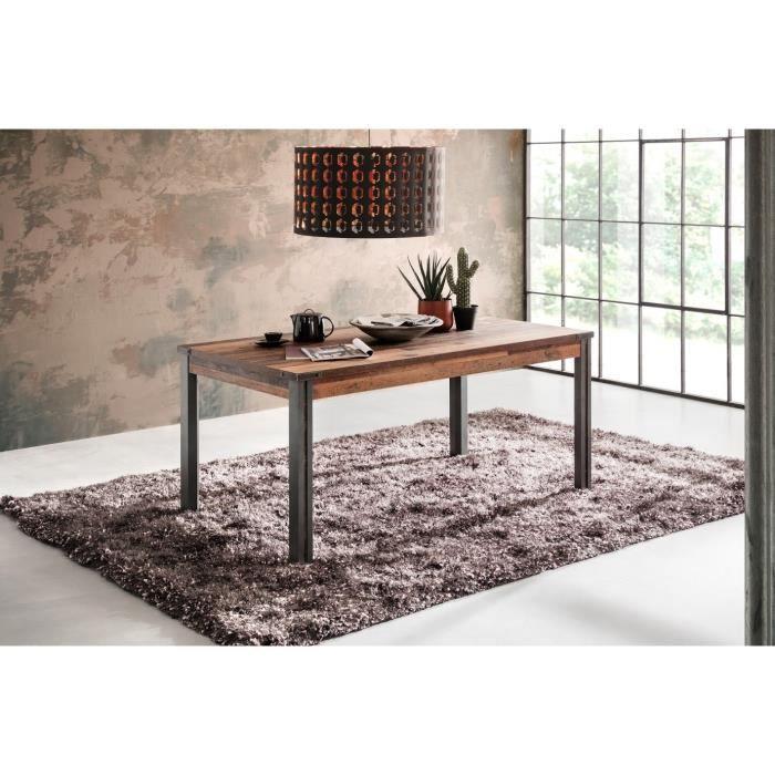 PRIME Table à manger 6 personnes - Décor bois patiné gris ...