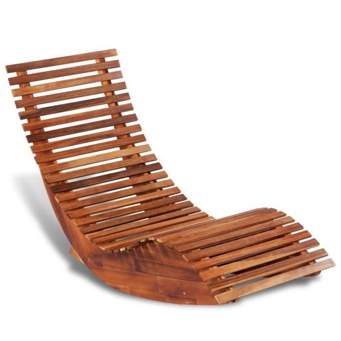 FIHERO Chaise longue basculante Bois d'acacia☻☺1