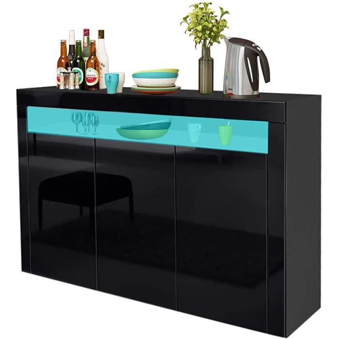 NOIR Buffet bas laqué brillant placard noir à haute brillance de l'armoire - H 88 cm