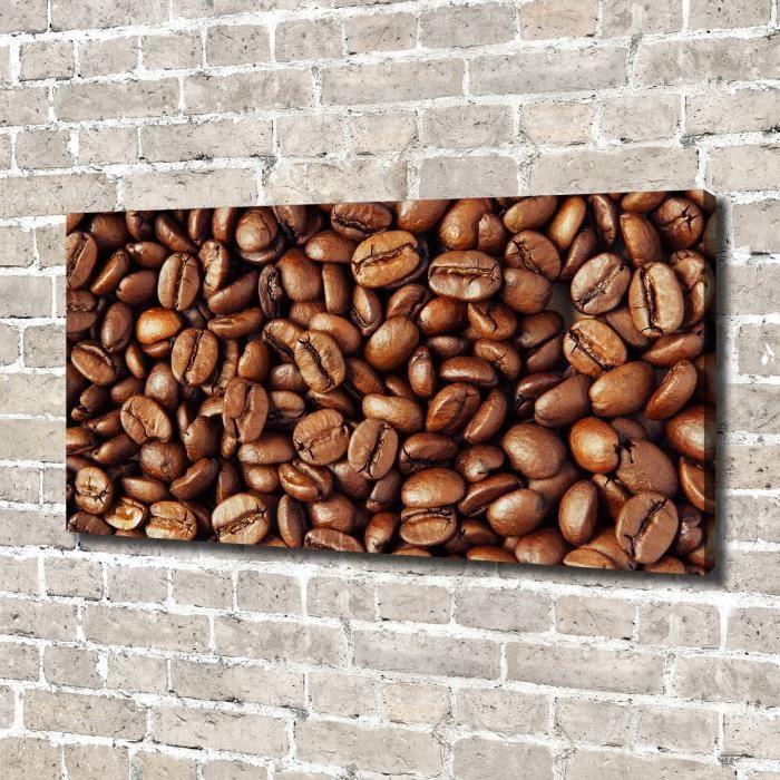 Tulup 140x70 cm art mural - Image sur toile:- Nourriture boissons - Grains De Café - Brun Vert Mixte