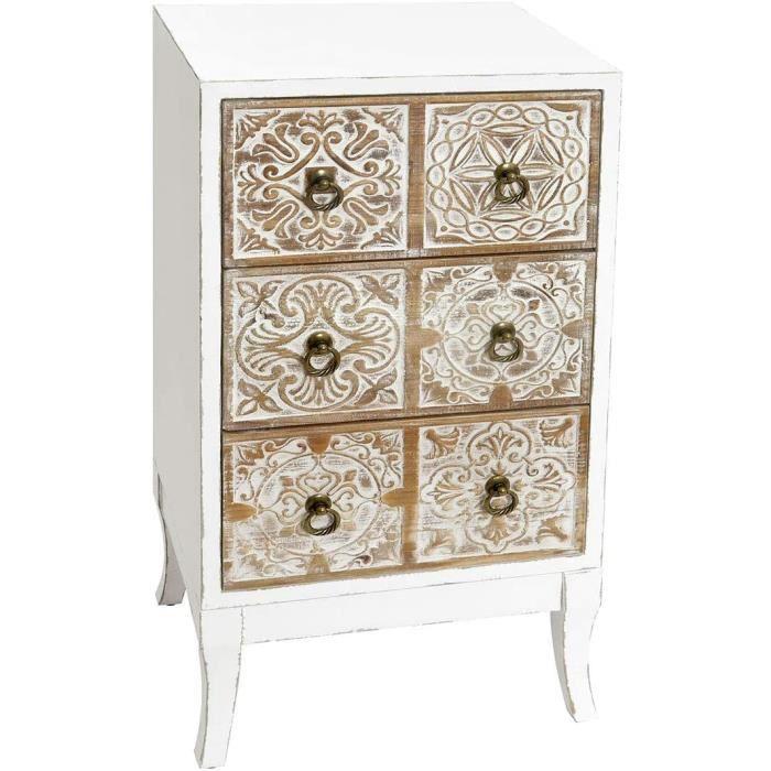 Commode Chambre Vidal Regalos Meuble à tiroirs auxiliaire Blanc Bois 3 tiroirs Design antique 78 cm181