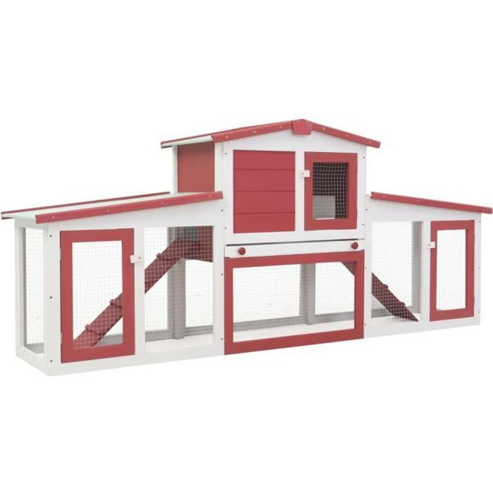 CHEZZOE Clapier lapin d'extérieur Enclos Lapin - Cage à Lapin Gris Rouge et blanc 204x45x85 cm Bois ☺20961