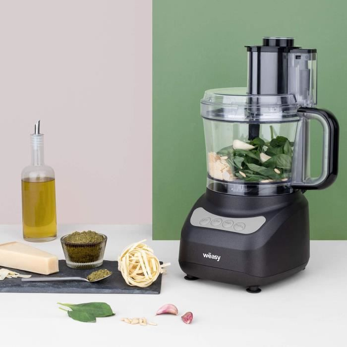Robot de cuisine Multifonction 1,8L Compact , Robot Culinaire Professionnel, Puissant, Fonctions préprogrammées: hâcher/émince 400W
