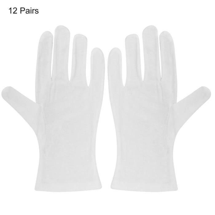 Fafeicy Gants en coton agricoles 12 Paires Gants de Protection de Coton pour Usage des Travaux Ménagers Agricoles Industriels(Blanc