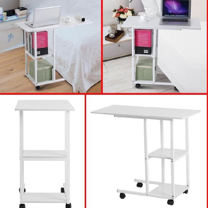 Table de lit, table d'ordinateur - Table de lit à roulettes - Table d'appoint avec roulettes pour lit et canapé HB0038 -ZOO