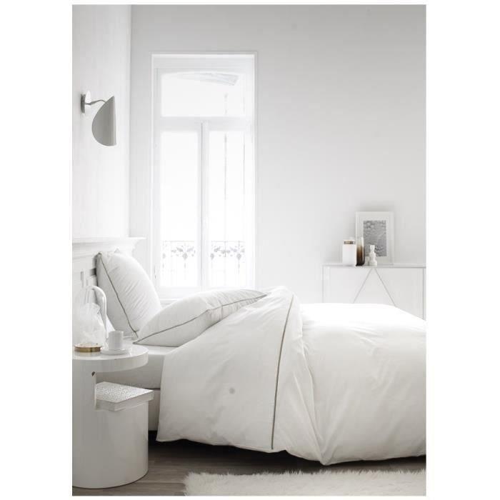 TODAY Parure de couette Leonie - 100% Percale de Coton - 220 x 240 cm - Blanc chantilly et mastic
