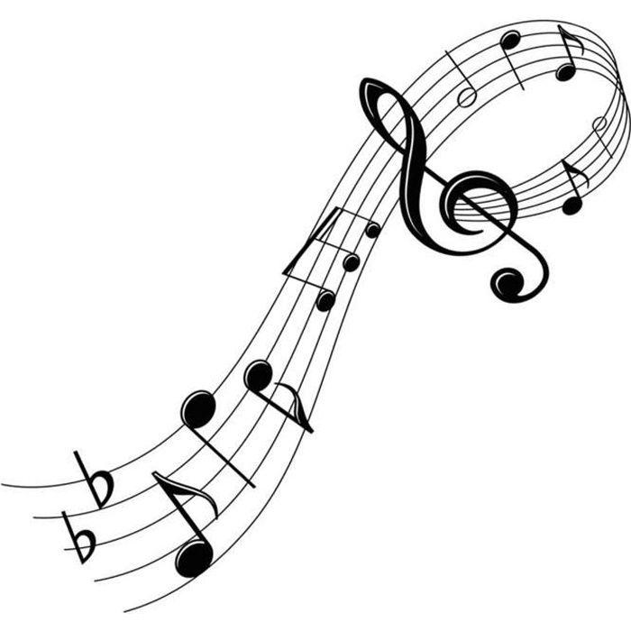 Planche de stickers 'Musique' noir (portée, clé de sol, notes de musique) - 50x70 cm [R1822]