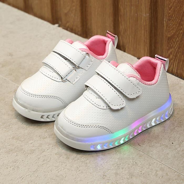 Infant Toddler Bébés Filles Garçons Lumière LED Lumineux Sport Chaussures De Course Baskets Rose