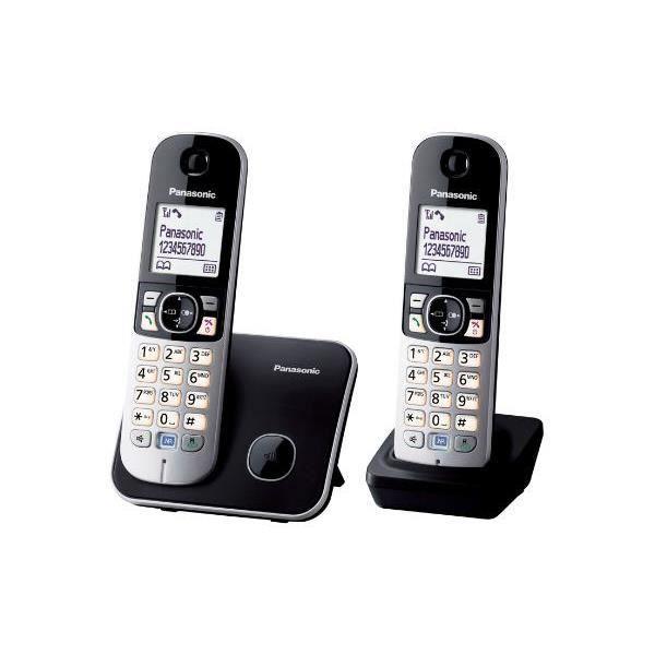 Panasonic KX-TG6812, Téléphone DECT, Haut-parleur, 120 entrées, Identification de l'appelant, Noir, Argent