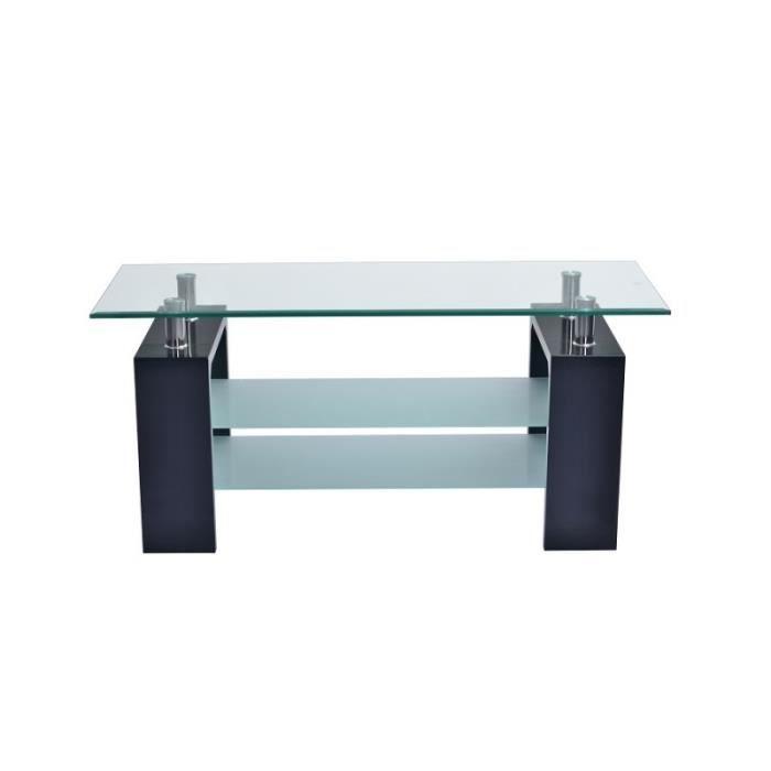 Table basse SIENA rectangulaire design plateau en verre et doubles sous-plateau en verre sablé, pieds coloris noir.: 45 Noir