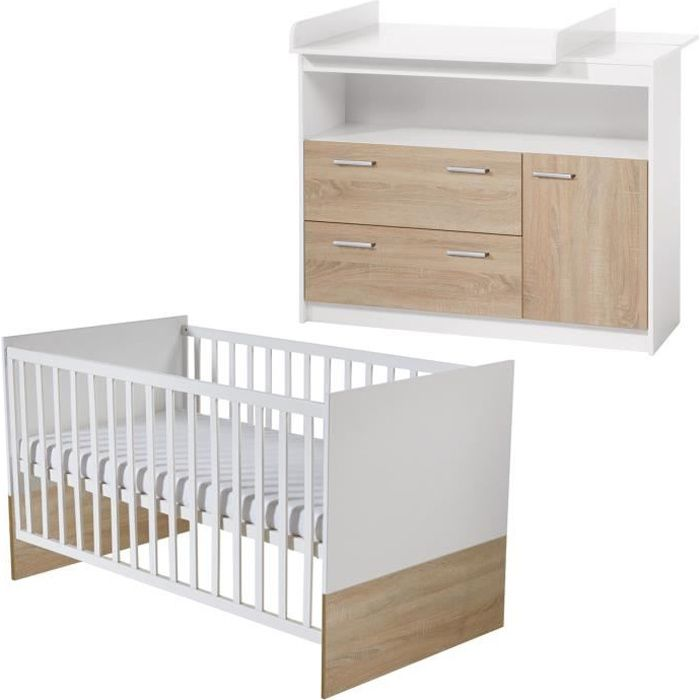 ROBA Ensemble chambre bébé -Gabriella-, lit bébé 70x140 cm et commode à langer, bicolore