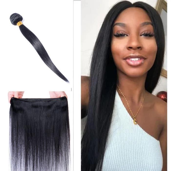Tissage Naturel Pour Cheveux Tissage Bresilien Un Lot Lisse Extension Raide Tissage Naturel Cheveux Humain (Noir Naturel, 22 Pouces)