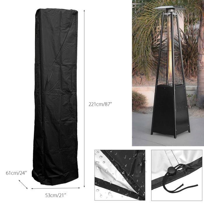 TEMPSA Housse Protection Couverture imperméable Cour Chauffage pour patio Heat 221x53x61cm