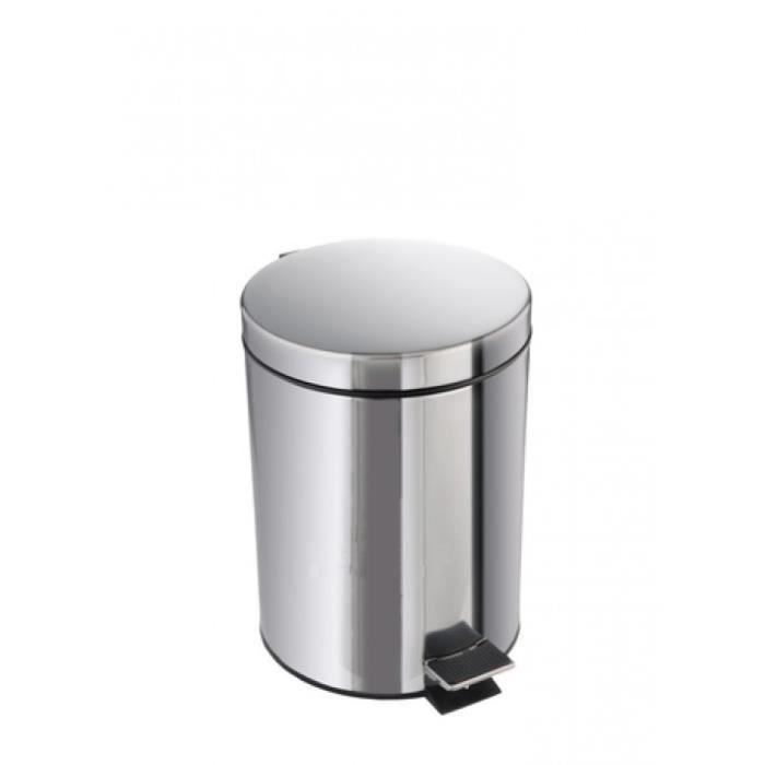 TOM poubelle à pédale 30 litres chrome
