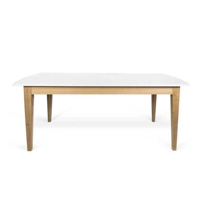 Table de repas à allonge Blanc/Chêne clair - COMER - L 190/260 x l 90 x H 75