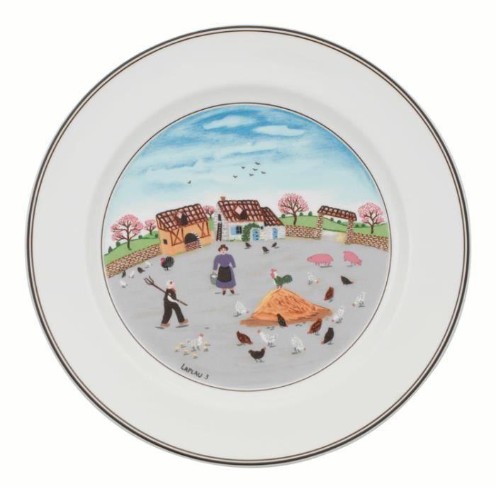 Assiette plate en porcelaine ronde D.27cm DESIGN NAIF - Basse cour