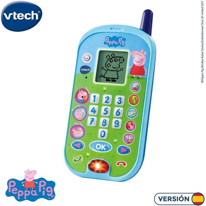 VTech - El teléfono de Peppa Pig, Móvil electrónico interactivo, Voces de todos los personajes de la