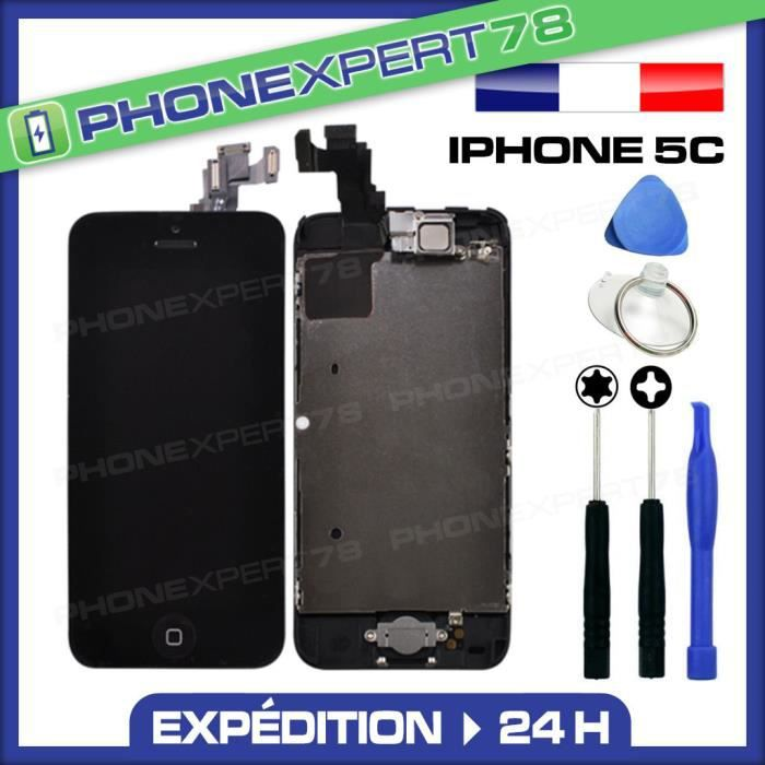 Cran complet iphone 5c noir assembl achat ecran de for Photo ecran iphone 5c